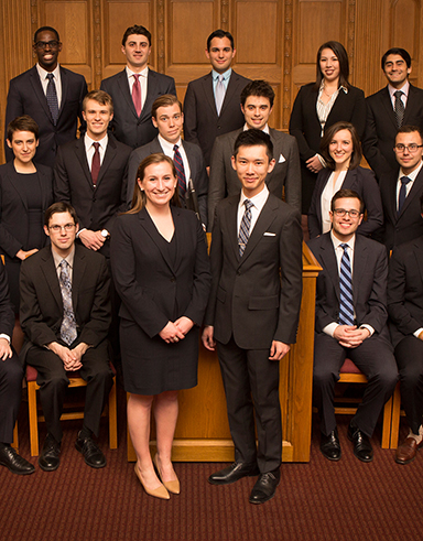 Group of law students in a courtroom
