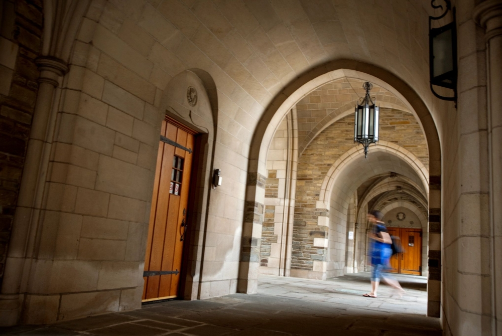 person walking through a covered stone archway
