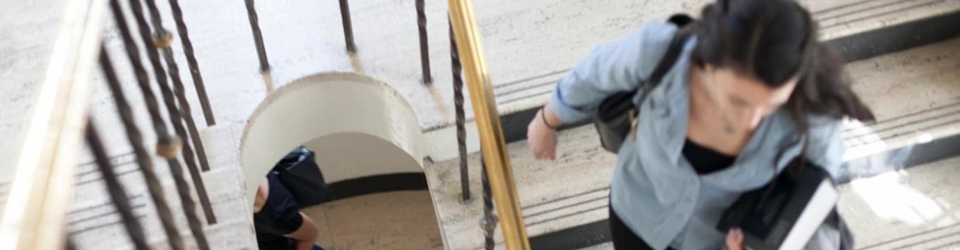 Student descending stairway