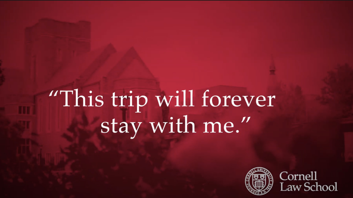"""red screen with Cornell logo and """"This trip will stay with me forever"""" written"""