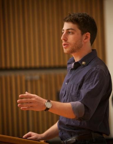 student delivering a presentation