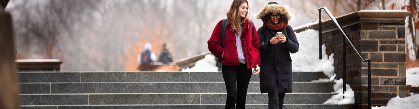 Two students descending outdoor stairs after a snowfall.
