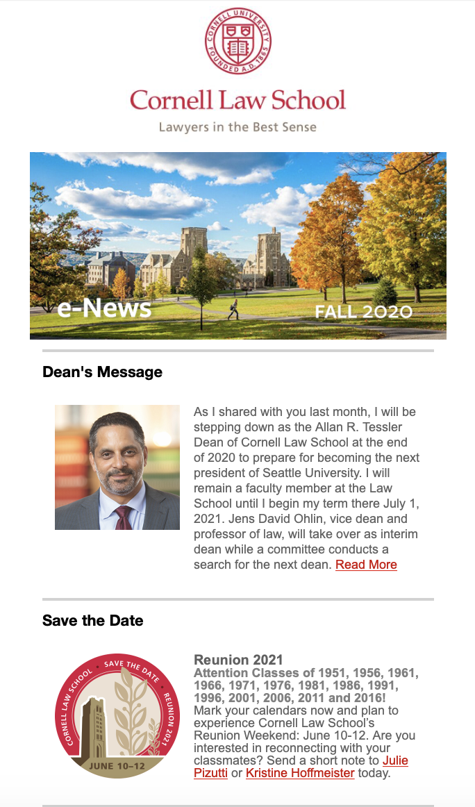 preview of an email message with a message from Dean Penalver announcing his departure and a Save The Date message to Alumni regarding Reunion 2021