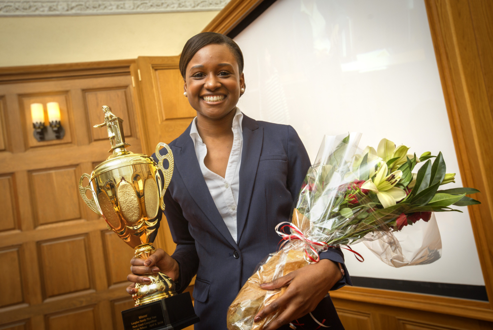 Seantyel Hardy, the winner of the 2016 Langfan Moot Court Competition
